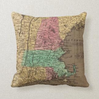 Mapa del vintage de Nueva Inglaterra 1836 Cojines
