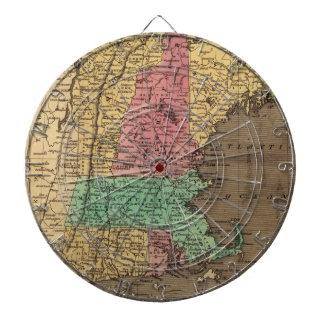 Mapa del vintage de Nueva Inglaterra 1836 Tablero Dardos