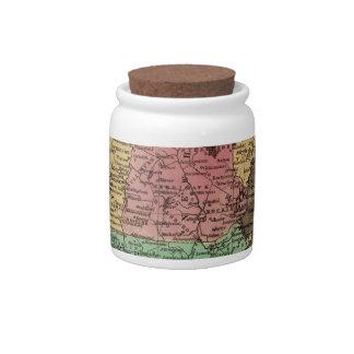 Mapa del vintage de Nueva Inglaterra (1836) Jarras Para Caramelos