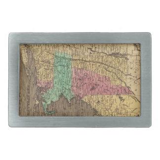 Mapa del vintage de Nueva Inglaterra 1836 Hebilla Cinturon