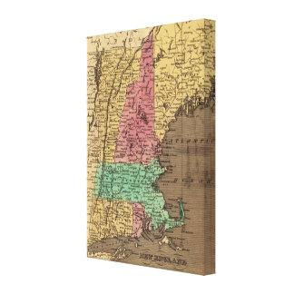 Mapa del vintage de Nueva Inglaterra (1836) Impresiones En Lienzo Estiradas