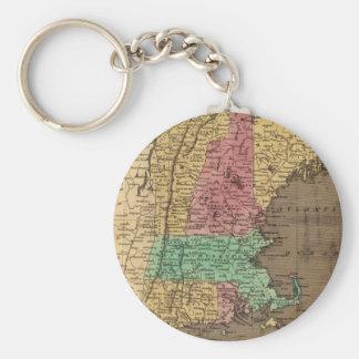 Mapa del vintage de Nueva Inglaterra (1836) Llavero Redondo Tipo Pin