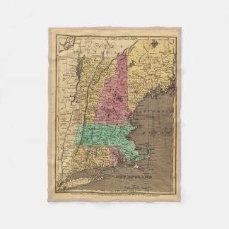 Mapa del vintage de Nueva Inglaterra (1836) Manta De Forro Polar