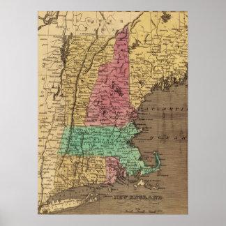 Mapa del vintage de Nueva Inglaterra (1836) Impresiones