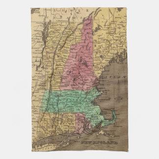 Mapa del vintage de Nueva Inglaterra (1836) Toallas De Mano