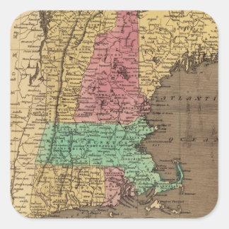 Mapa del vintage de Nueva Inglaterra (1836) Pegatina Cuadrada