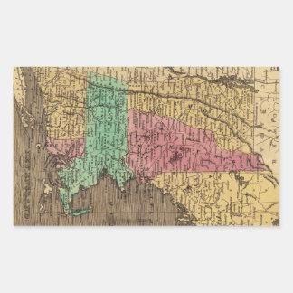 Mapa del vintage de Nueva Inglaterra (1836) Pegatina Rectangular