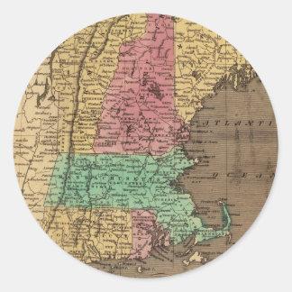 Mapa del vintage de Nueva Inglaterra (1836) Pegatina Redonda