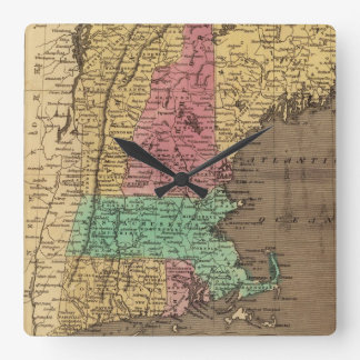 Mapa del vintage de Nueva Inglaterra (1836) Reloj Cuadrado