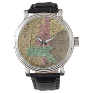 Mapa del vintage de Nueva Inglaterra (1836) Reloj De Mano