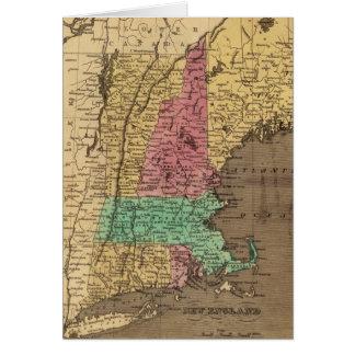 Mapa del vintage de Nueva Inglaterra (1836) Tarjeta