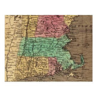 Mapa del vintage de Nueva Inglaterra (1836) Tarjetas Postales