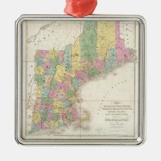 Mapa del vintage de Nueva Inglaterra (1839) Adorno Navideño Cuadrado De Metal
