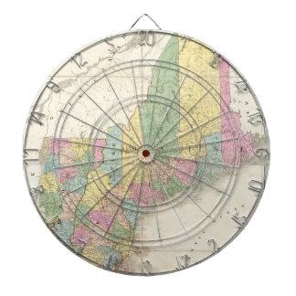 Mapa del vintage de Nueva Inglaterra 1839 Tablero Dardos