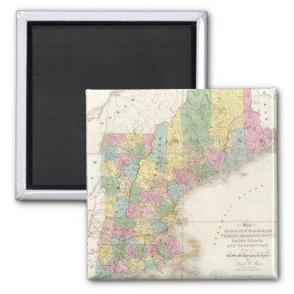 Mapa del vintage de Nueva Inglaterra (1839) Imán Cuadrado