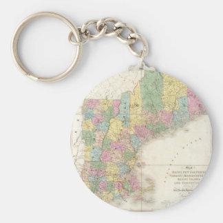Mapa del vintage de Nueva Inglaterra (1839) Llavero Redondo Tipo Pin