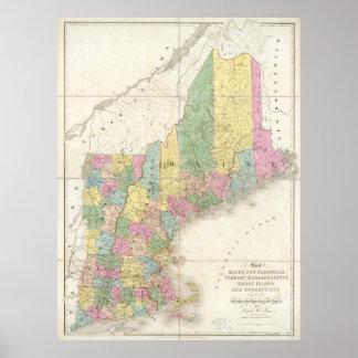 Mapa del vintage de Nueva Inglaterra 1839 Posters