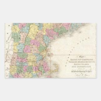 Mapa del vintage de Nueva Inglaterra (1839) Rectangular Pegatina