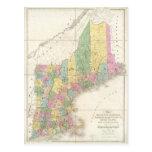 Mapa del vintage de Nueva Inglaterra (1839) Postal