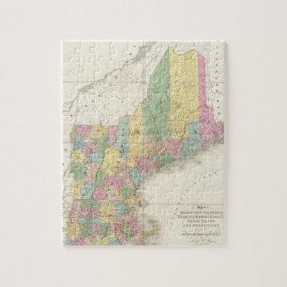 Mapa del vintage de Nueva Inglaterra 1839 Puzzle Con Fotos