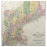 Mapa del vintage de Nueva Inglaterra (1839) Servilletas Imprimidas