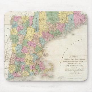 Mapa del vintage de Nueva Inglaterra (1839) Tapetes De Raton