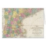 Mapa del vintage de Nueva Inglaterra (1839) Tarjeta