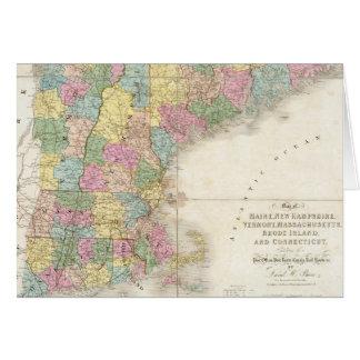 Mapa del vintage de Nueva Inglaterra 1839 Tarjeta
