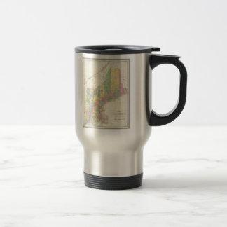 Mapa del vintage de Nueva Inglaterra (1839) Tazas De Café
