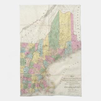 Mapa del vintage de Nueva Inglaterra (1839) Toalla De Mano