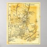 Mapa del vintage de Nueva Inglaterra Impresiones