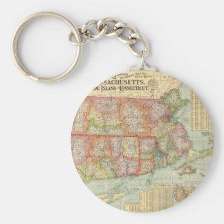 Mapa del vintage de Nueva Inglaterra States (1900) Llavero Redondo Tipo Pin