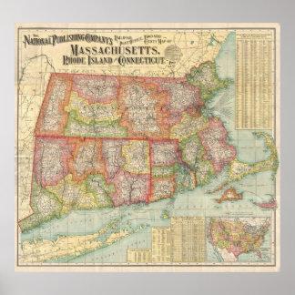 Mapa del vintage de Nueva Inglaterra States (1900) Posters