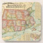 Mapa del vintage de Nueva Inglaterra States (1900) Posavasos