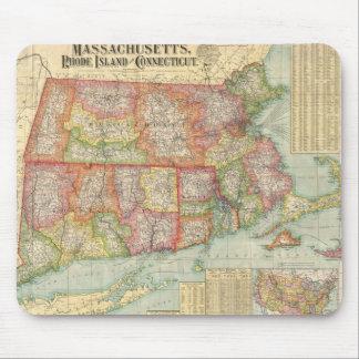 Mapa del vintage de Nueva Inglaterra States (1900) Tapetes De Raton
