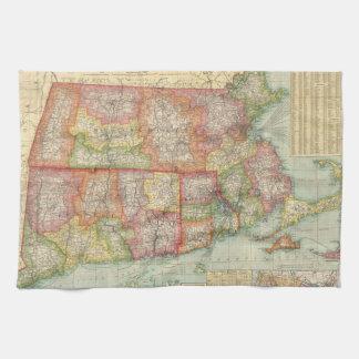 Mapa del vintage de Nueva Inglaterra States (1900) Toallas De Mano