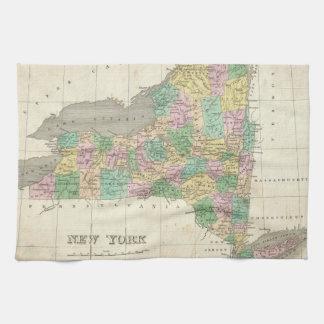 Mapa del vintage de Nueva York (1827) Toalla De Mano