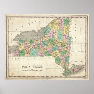Mapa del vintage de Nueva York 1827 Poster
