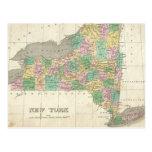 Mapa del vintage de Nueva York (1827) Tarjeta Postal
