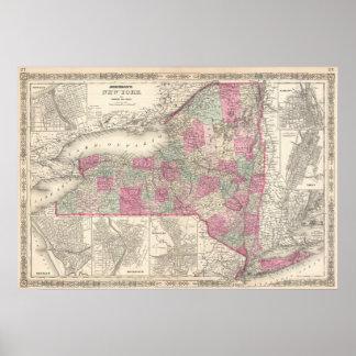 Mapa del vintage de Nueva York (1864) Póster
