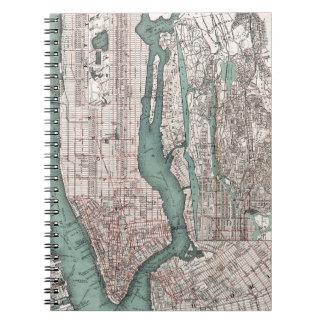 Mapa del vintage de Nueva York (1897) Note Book