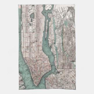 Mapa del vintage de Nueva York (1897) Toalla De Cocina