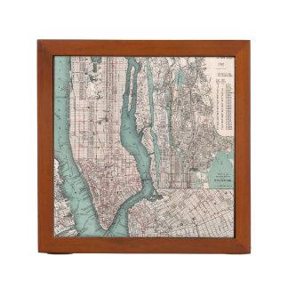 Mapa del vintage de Nueva York (1897) Portalápices