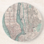 Mapa del vintage de Nueva York (1897) Posavasos Diseño