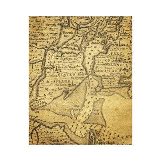 Mapa del vintage de Nueva York Lienzo Envuelto Para Galerías