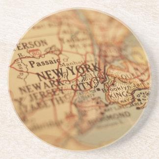 Mapa del vintage de NUEVA YORK Posavasos Diseño