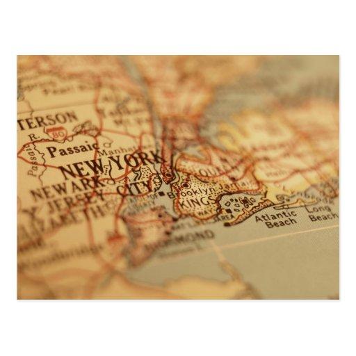 Mapa del vintage de NUEVA YORK Postal