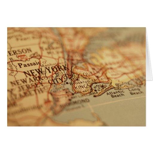 Mapa del vintage de NUEVA YORK Tarjeta De Felicitación