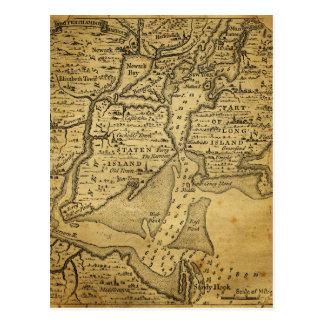 Mapa del vintage de Nueva York Tarjeta Postal