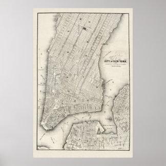 Mapa del vintage de Nueva York y de Brooklyn, 1860 Póster